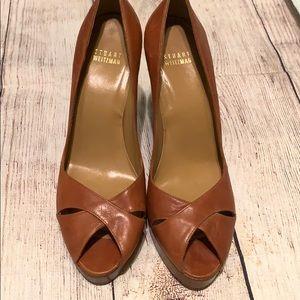 Brown peep toe platforms